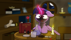 Size: 1920x1080 | Tagged: safe, artist:ljdamz1119, twilight sparkle, alicorn, pony, book, bookshelf, candle, cute, dropper, erlenmeyer flask, explosion, female, fire, flask, glowing horn, magic, mare, night, open mouth, paper boat, petri dish, potion, scorched, scroll, solo, soot, surprised, telekinesis, test tube, twiabetes, twilight sparkle (alicorn), window