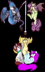 Size: 2573x4155 | Tagged: safe, artist:niggerdrawfag, artist:xchan, derpibooru exclusive, oc, oc:annabelle (zizzydizzymc), oc:blooming corals, oc:cotton coax, oc:lafiri, oc:spooky treats, bat pony, griffon, pony, unicorn, 2019 community collab, derpibooru community collaboration, bat pony oc, blind, dock, eyes closed, female, fishing, fishing rod, floppy disk, flying, frog (hoof), griffon oc, laughing, looking up, open mouth, paws, pointing, reaching, redraw, simple background, sitting, transparent background, underhoof, underpaw