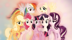 Size: 1600x900 | Tagged: alicorn, applejack, artist:jhayarr23, artist:sailortrekkie92, cowboy hat, earth pony, edit, female, fluttershy, flying, hat, looking at you, mane six, mare, pegasus, pinkie pie, pony, rainbow dash, rarity, safe, smiling, starlight glimmer, the mean 6, twilight sparkle, twilight sparkle (alicorn), unicorn, wallpaper, wallpaper edit