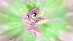 Size: 1600x900 | Tagged: artist:jhayarr23, artist:sailortrekkie92, dragon, edit, flying, lidded eyes, male, molt down, pose, safe, spike, wallpaper, wallpaper edit, winged spike, wings