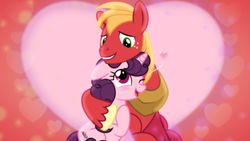 Size: 1600x900 | Tagged: artist:jhayarr23, artist:sailortrekkie92, big macintosh, cute, daaaaaaaaaaaw, edit, female, heart, hug, macabetes, male, mare, safe, shipping, stallion, straight, sugar belle, sugarbetes, sugarmac, wallpaper, wallpaper edit