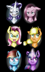 Size: 800x1280 | Tagged: anti-elements, applejack, artist:valemjj, clone, clone six, elements of disharmony, fluttershy, mane six, mean applejack, mean fluttershy, mean pinkie pie, mean rainbow dash, mean rarity, mean six, mean twilight sparkle, pinkamena diane pie, pinkie pie, rainbow dash, rarity, safe, the mean 6, twilight sparkle