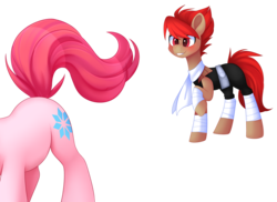 Size: 4308x3130 | Tagged: safe, artist:scarlet-spectrum, derpibooru exclusive, oc, oc only, oc:blitz drive, oc:diamond stellar, earth pony, pony, unicorn, blushing, clothes, commission, dat butt, drivellar, eyes on the prize, female, male, mare, oc x oc, scarf, shipping, simple background, stallion, straight, transparent background, watermark