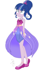 Size: 1350x2180 | Tagged: alternate hairstyle, artist:ilaria122, bare shoulders, bracelet, clothes, crystal gala, crystal gala dress, dress, equestria girls, female, jewelry, necklace, next generation, oc, oc:velvet star, offspring, parent:flash sentry, parents:flashlight, parent:twilight sparkle, ponytail, safe, shoes, simple background, sleeveless, solo, transparent background