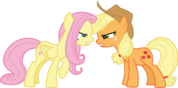 Size: 6051x3000   Tagged: safe, artist:cloudyglow, artist:yanoda, applejack, fluttershy, earth pony, pegasus, pony, sounds of silence, .ai available, absurd resolution, argument, cowboy hat, duo, female, freckles, hat, mare, nose to nose, raised hoof, simple background, stetson, transparent background, vector