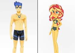 Size: 3200x2263   Tagged: safe, artist:diegator007, artist:jotakaanimation, artist:jucamovi1992, edit, flash sentry, sunset shimmer, equestria girls, equestria girls series, forgotten friendship, adorasexy, belly button, bikini, bikini bottom, blushing, bracelet, clothes, crotch bulge, curvy, cute, female, flashimmer, geode of empathy, high res, hourglass figure, jewelry, lidded eyes, looking at you, magical geodes, male, midriff, sexy, shipping, smiling, straight, summer sunset, swimming trunks, swimsuit, wristband