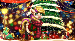 Size: 1698x929 | Tagged: artist:moondreamer16, christmas, christmas tree, clothes, commission, female, holiday, jewelry, mare, necklace, night, oc, oc only, oc:sprinkles, pony, present, safe, scarf, shoes, smiling, snow, solo focus, sweater, tree, unicorn, winter