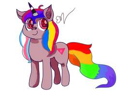 Size: 1600x1200 | Tagged: safe, artist:rave-kunnn, oc, oc:lgbt pony, pony, asexual, asexual pride flag, bisexual pride flag, bisexuality, gay pride, gay pride flag, lgbt, pansexual, pansexual pride flag, pink triangle, pride, pride ponies, simple background, solo, transgender, transgender pride flag, white background