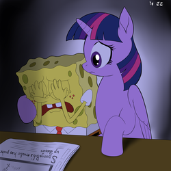 Size: 3000x3000 | Tagged: safe, artist:tomtornados, twilight sparkle, alicorn, comforting, crossover, crying, newspaper, rest in peace, sad, spongebob squarepants, spongebob squarepants (character), stephen hillenburg, twilight sparkle (alicorn)