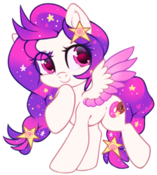 Size: 1000x1112 | Tagged: safe, artist:cabbage-arts, oc, oc:wish, pegasus, pony, braid, cute, hair accessory, looking at you, simple background, smiling, sparkles, transparent background, wings