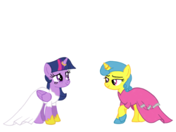 Size: 1024x768 | Tagged: alicorn, alternate hairstyle, artist:turnaboutart, base used, clothes, dress, female, horn ring, lemon hearts, lemonlight, lesbian, marriage, pony, safe, shipping, shoes, twilight sparkle, twilight sparkle (alicorn), unicorn, wedding, wedding dress
