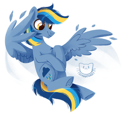 Size: 1234x1143   Tagged: safe, artist:sonnatora, oc, oc only, oc:stormy weather, pegasus, pony, commission, female, flying, mare, simple background, solo, white background