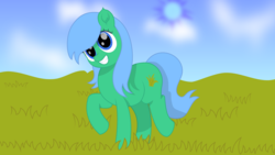 Size: 1920x1080 | Tagged: safe, artist:onil innarin, oc, oc only, oc:kruti napatum, earth pony, pony, cloud, ear fluff, female, grass, grin, happy, mare, shading, smiling, solo, trotting, vector, wallpaper