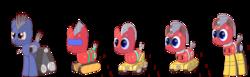 Size: 7218x2235 | Tagged: safe, artist:trackheadtherobopony, oc, oc:trackhead, original species, pony, robot, robot pony, wheelpone, absurd resolution, character evolution, description is relevant, simple background, text