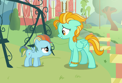 Size: 2644x1796 | Tagged: safe, artist:frostybases, artist:starlightdrop, lightning dust, oc, oc:rainbow windy, pegasus, pony, alternate hairstyle, base used, bracelet, female, fence, filly, jewelry, magical lesbian spawn, mare, mother and daughter, next generation, offspring, parent:lightning dust, parent:rainbow dash, parents:rainbowdust, part of a series, part of a set, sad, school, swing, tree