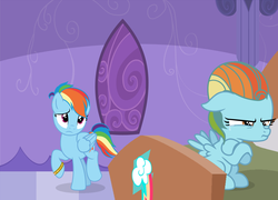 Size: 2760x1988 | Tagged: safe, artist:cherylblackberrychan, artist:doraair, artist:starlightdrop, rainbow dash, oc, oc:rainbow windy, pegasus, pony, alternate hairstyle, base used, bed, blanket, bracelet, crying, female, filly, jewelry, magical lesbian spawn, mare, mother and daughter, next generation, offspring, parent:lightning dust, parent:rainbow dash, parents:rainbowdust, part of a series, part of a set, pillow, pouting, sad