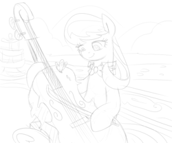 Size: 1000x833 | Tagged: artist:dudey64, butterfly, cello, fountain, monochrome, musical instrument, octavia melody, pony, safe, sketch, solo, underhoof