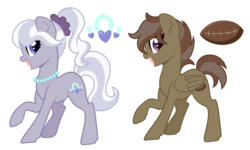 Size: 1500x900 | Tagged: artist:lullabyprince, artist:palerose522, base, duo, earth pony, female, icey-verse, jewelry, lesbian, magical gay spawn, magical lesbian spawn, mare, necklace, next generation, oc, oc:hat-tick, oc only, oc:shiny pearls, oc x oc, offspring, open mouth, parent:button mash, parent:diamond tiara, parent:rumble, parent:silver spoon, parents:rumblemash, parents:silvertiara, pearl necklace, pegasus, pony, ponytail, raised hoof, safe, scrunchie, shipping, simple background, transparent background