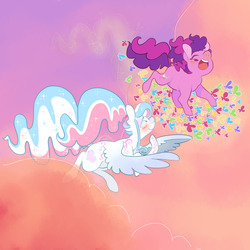 Size: 1280x1280   Tagged: safe, artist:let-the-rainbow-remind-us, skywishes, star catcher, butterfly, earth pony, pegasus, pony, dancing in the clouds, g3, blushing, couple, female, flying, happy, laughing, lesbian, lidded eyes, ponytail, shipping, skycatcher, tickling