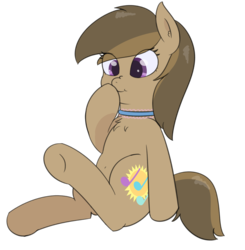 Size: 2008x2046 | Tagged: safe, artist:eyeburn, oc, oc only, oc:dawnsong, earth pony, pony, boop, chest fluff, choker, colored pupils, cross-eyed, cute, female, mare, nose wrinkle, ocbetes, self-boop, sitting, smiling, solo, underhoof