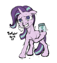 Size: 1100x1200 | Tagged: safe, artist:trefoiler, starlight glimmer, pony, unicorn, colored sketch, cutie mark, equality, equalized, female, jar, mare, shaking, simple background, sketch, solo, sweat, transparent background