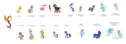 Size: 8408x2960 | Tagged: alicorn, applejack, big macintosh, discord, dislestia, doctor whooves, edit, editor:proto29, female, fluttershy, male, mane six, maud pie, pinkie pie, pony, princess celestia, princess luna, race swap, rainbow dash, rarity, safe, shipping, simple background, sir mcbiggen, spike, starlight glimmer, straight, sword, time turner, tree hugger, trixie, twilight sparkle, twilight sparkle (alicorn), unicorn, unicorn big mac, weapon, white background, zecora, zephyr breeze