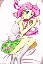 Size: 820x1220 | Tagged: safe, artist:tastyrainbow, fluttershy, equestria girls, anime, bed, blushing, clothes, cute, female, lying, miniskirt, on bed, pleated skirt, schrödinger's pantsu, shyabetes, sideass, skirt, sleeveless, socks, solo, tanktop, thighs