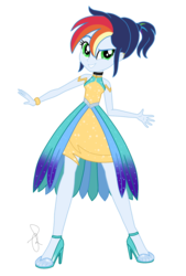 Size: 1470x2179 | Tagged: alternate hairstyle, artist:ilaria122, bare shoulders, bracelet, choker, clothes, crystal gala, crystal gala dress, dress, equestria girls, female, high heels, jewelry, next generation, oc, oc:sky, offspring, parent:rainbow dash, parent:soarin', parents:soarindash, safe, shoes, simple background, sleeveless, smiling, solo, transparent background