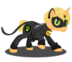 Size: 2366x2028 | Tagged: safe, artist:deannaphantom13, pony, unicorn, adrien agreste, baton, bell, cat eyes, chat noir, high res, horn ring, male, miraculous ladybug, ponified, shadow, simple background, slit eyes, solo, stallion, transparent background