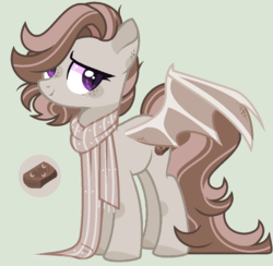 Size: 1056x1030 | Tagged: safe, artist:nocturnal-moonlight, oc, oc:toffee, bat pony, pony, clothes, female, mare, scarf, simple background, solo