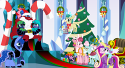 Size: 11000x6000 | Tagged: safe, artist:evilfrenzy, alice the reindeer, aurora the reindeer, bori the reindeer, princess cadance, princess flurry heart, princess luna, oc, oc:cruithne, oc:frenzy, oc:leeloo, dragon, pony, absurd resolution, age regression, baby, baby pony, christmas, christmas tree, cute, diaper, foal, holiday, onesie, parent:oc:frenzy, parent:princess luna, parents:canon x oc, santa claus, the gift givers, tree