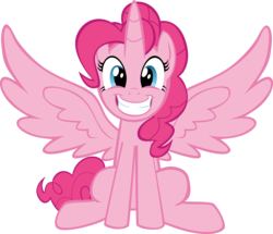 Size: 11500x9873 | Tagged: safe, artist:mrkat7214, pinkie pie, alicorn, pony, absurd resolution, alicornified, female, grin, mare, pinkiecorn, princess pinkie pie, race swap, simple background, smiling, solo, spread wings, transparent background, vector, wings, xk-class end-of-the-world scenario
