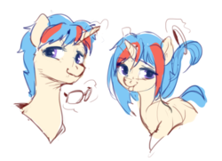 Size: 817x592 | Tagged: safe, artist:iuth, oc, oc only, oc:iuth, pony, unicorn, female, glasses, horn, looking at you, male, mare, rule 63, smiling, tongue out