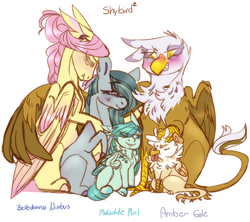 Size: 1551x1375 | Tagged: safe, artist:eqq_scremble, derpibooru exclusive, fluttershy, gilda, marble pie, oc, oc:amber gale, oc:malachite mint, earth pony, griffon, hybrid, pegasus, pony, eqqverse, alternate design, ear piercing, eared griffon, earring, family, feather, female, gildashy, griffon hybrid, hair bun, hug, hybrid offspring, interspecies offspring, jewelry, lesbian, magical lesbian spawn, male, marbilda, marbildashy, marbleshy, mare, mother and child, next generation, offspring, ot3, parent:fluttershy, parent:gilda, parent:marble pie, parents:marbilda, parents:marbleshy, piercing, polyamory, pony hybrid, pregnant, shipping, simple background, smiling, tired, winghug