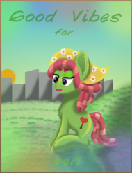 Size: 1600x2100 | Tagged: safe, artist:thevintagepone, tree hugger, pony, eqg summertime shorts, good vibes, happy new year, holiday