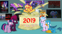 Size: 6270x3488 | Tagged: safe, artist:ejlightning007arts, applejack, capper dapperpaws, captain celaeno, fizzlepop berrytwist, fluttershy, gallus, pinkie pie, princess skystar, queen novo, rainbow dash, rarity, silverstream, spike, starlight glimmer, storm king, sunset shimmer, tempest shadow, twilight sparkle, alicorn, equestria girls, my little pony: the movie, 2019, art museum, cake, clothes, female, food, gallstream, gasping, happy new year, happy new year 2019, holiday, i mean i see, infinity gauntlet, judy hopps, lesbian, shipping, shocked, straight, swimsuit, tempestlight, thanos, the incredibles, the incredibles 2, twilight sparkle (alicorn), violet parr, zootopia