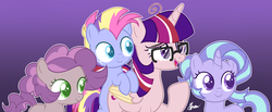 Size: 3857x1589 | Tagged: safe, artist:polymercorgi, oc, oc only, oc:pastel magic, oc:sky twinkle, oc:static shock, alicorn, earth pony, pony, unicorn, colt, female, filly, glasses, magical lesbian spawn, male, mare, offspring, parent:maud pie, parent:moondancer, parent:mud briar, parent:pinkie pie, parent:rainbow dash, parent:starlight glimmer, parent:trixie, parent:twilight sparkle, parents:maudbriar, parents:pinkiedash, parents:startrix, parents:twidancer