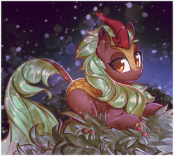 Size: 1505x1356 | Tagged: safe, artist:mirroredsea, cinder glow, summer flare, kirin, sounds of silence, female, holly, looking at you, prone, snow, snowfall, solo