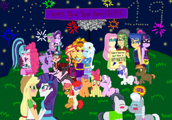 Size: 3618x2533 | Tagged: safe, artist:ktd1993, adagio dazzle, apple bloom, applejack, babs seed, button mash, diamond tiara, flash sentry, fluttershy, pinkie pie, rarity, rumble, sandalwood, sci-twi, silver spoon, sonata dusk, spike, spike the regular dog, starlight glimmer, sunset shimmer, sweetie belle, tender taps, trixie, twilight sparkle, twist, oc, oc:curse word, oc:magpie, alicorn, dog, equestria girls, equestria girls series, blushing, diamondbloom, diplight, dipper pines, female, flashlight, gravity falls, kissing, lesbian, male, new year, oc x oc, pinata (ship), rarijack, rumblespoon, sandalshy, sciflash, shipping, sparlight, straight, sunsagio, sweetiemash, tenderbloom, triagio, twilight sparkle (alicorn)