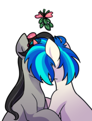 Size: 763x1000 | Tagged: artist:yaaaco, dj pon-3, earth pony, female, kissing, lesbian, mare, mistletoe, octavia melody, pony, safe, scratchtavia, shipping, simple background, unicorn, vinyl scratch, white background