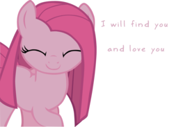 Size: 1396x1024 | Tagged: safe, artist:99xua, edit, pinkie pie, bronybait, c:, cute, cuteamena, eyes closed, pinkamena diane pie, raised hoof, simple background, smiling, solo, text, text edit, transparent background