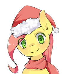 Size: 1500x1500 | Tagged: artist:papibabidi, bust, christmas, clothes, female, fluttershy, hat, head tilt, holiday, looking at you, mare, pegasus, pony, portrait, safe, santa hat, scarf, simple background, smiling, solo, white background, wrong eye color