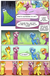 Size: 1800x2740   Tagged: safe, artist:candyclumsy, cheerilee, ms. harshwhinny, spitfire, trixie, earth pony, pegasus, pony, unicorn, comic:fusing the fusions, comic:mlp: education reform, comic, commissioner:bigonionbean, coughing, female, fusion, magic, mare, potion, smoke, writer:bigonionbean