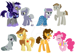Size: 1024x754 | Tagged: safe, artist:grubandgaming16th, braeburn, cheese sandwich, limestone pie, marble pie, maud pie, mudbriar, pinkie pie, bat pony, braeble, cheesepie, female, male, maudbriar, pie sisters, royal guard, shipping, siblings, sisters, straight