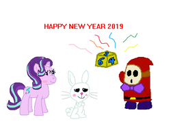Size: 689x507 | Tagged: angel bunny, artist:drypony198, blushing, dice, dice block, female, game guy, interspecies, male, mario party 3, new year, safe, shipping, shy guy, starbunny, starlight glimmer, straight