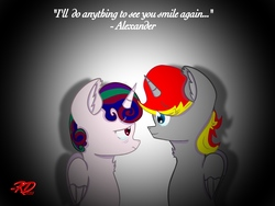 Size: 2048x1536 | Tagged: safe, alternate version, artist:rubydeluxe, oc, oc only, oc:holly dance, oc:rd, alicorn, pony, alicorn oc, colored, crying, digital art, embrace, female, horn, love, male, quote, shading, signature, simple background, wings
