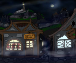 Size: 2000x1667 | Tagged: artist:dudey64, mist, night, outdoors, pony, safe, scenery, spooky, town