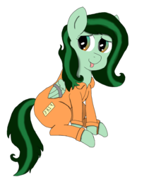 Size: 1000x1184 | Tagged: 2019 community collab, artist:alviniscute, bound wings, clothes, derpibooru community collaboration, female, mare, oc, oc:eden shallowleaf, oc only, :p, pegasus, pony, prisoner, prison outfit, safe, silly, simple background, solo, tongue out, transparent background, wing cuffs