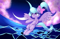 Size: 4096x2650 | Tagged: safe, artist:kawaiipony2, flitter, pegasus, pony, bow, crescent moon, female, mare, moon, solo