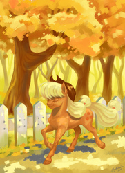 Size: 794x1096   Tagged: safe, artist:skyaircobra, applejack, earth pony, pony, autumn, colored hooves, cowboy hat, eyes closed, female, fence, hat, mare, smiling, solo, tree, trotting